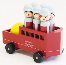 Wooden Toy Preschool Line Fireman Bowling Vehicle Fire Station Pretend Play Gift