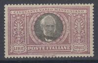 REGNO D'ITALIA 1923 MANZONI 5 LIRE G.O MLH* CENTRATISSIMA 10/10 DIENA