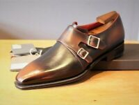 New handmade men's double monk strap shoes custom made men shoes