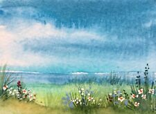 Flowers by the Sea ACEO Original Miniature watercolour by Pamela J West