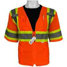 Hi Visibility Safety Vest, Surveyors Vest, ANSI Class 3, Size:Large, GLO-147-L