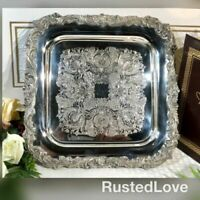 """Sheffield Square Silver plated Serving tray """"English Baroque"""" Etched 12 Inch"""