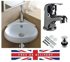 Bathroom Cloakroom Ceramic Compact Corner Small Wash Basin Sink Inc Tap + Waste