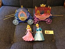 Disney Polly Pocket Cinderella & Sleeping Beauty And 2 Carriages GUC