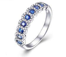 10k White Gold Over 0.98ct Sapphires & Diamonds Wedding /Anniversary Band Ring