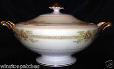 MEITO CHINA NSP CHINA IRVING ROUND COVERED VEGETABLE BOWL BROWN FLORAL GOLD TRIM