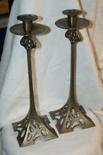SOLID PEWTER CANDLE STICK HOLDER PAIR