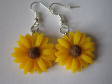 Gota/Dangle Earrings-Girasol-Flores Amarillas-Plateado