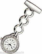 NEW FIRST HAND HEALTHCARE WATCH THERAPIST NURSE SILVER PLATED CLEAR CRYSTAL