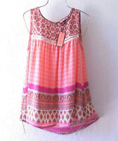 New~Pink Coral Peach Ivory Crochet Lace Blouse Shirt Tank Boho Top~Size Small S