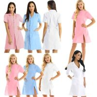 Women Hospital Coat Nurse Doctor Cosplay Costume Lab Jacket Dress Scrubs Uniform