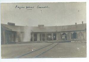 Real photo postcard of the Railway engine shed Evanston Wyoming USA good condion