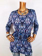 Rafaella M Top Stretch Asymmetric Hem Floral Studs Gems $65 NWT Blouse Shirt 3/4