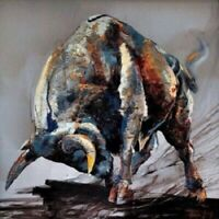 Hand-painted Canvas Oil Painting Figure Wall Art Figure Animal Bull  (No Frame)