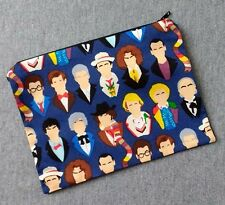 12 Doctors Poly Mesh Zipper Pouch Cosmetic Makeup Bag Doctor Who