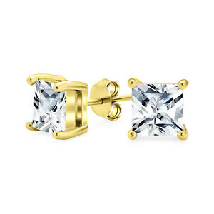 Square Cubic Zirconia Solitaire Princess AAA CZ Stud Earrings For Women Men 14K
