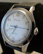 Vintage Gent's BULOVA Swiss Selfwinding Mechanical,SS Case, Leather, Runs Strong