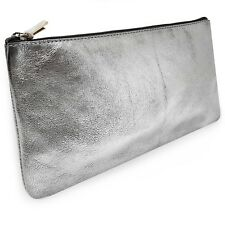 Clairefontaine Real Leather Pencil Case - 22 x 11cm - Metallic Silver