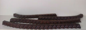 antique architectural mahogany carved wooden furniture trim molding lot of 4 pcs