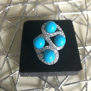 Sleeping Beauty Turquoise Ring Sterling Silver SZ9