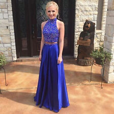 New Custom Two Pieces Beaded High Neck Long Prom Evening Cocktail Dress Gowns