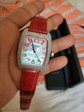 LOCMAN Diamante Completo Pavé de nácar banda de cocodrilo de reloj Ref 487 $4000!
