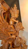 Vintage Hand Carved Lord Vishnu Riding Garuda on Turtle Artist A. Rai