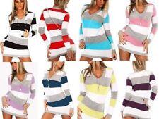 Womens V Neck Tunic Stripe Jumper Ladies sexy Mini Dress