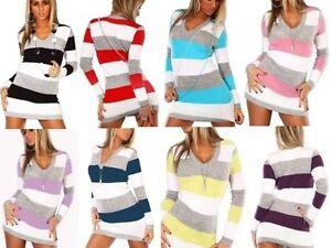 Tunic Stripe Jumper Dress Women's V Neck Sweater Top Ladies sexy Mini Dress