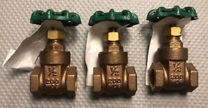 "1/2"" Inch NPT  Brass Gate Valve 200WOG  Lot of 3 valves. FREE SHIPPING"