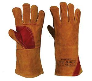 Welding Welders Gloves Gauntlet Cow Leather A530 Heat Oven Work Wear Reinforced
