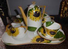 Superbe service tête à tête A Lanternier porcelaine Limoges décor aux tournesols