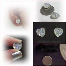 MAGNETIC Clear AB HEART 12mm  Faux Druzy Iridescent Non Pierced Earrings M170
