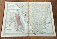 "1903 large colour fold out map titled ""  illinois - southern part  """