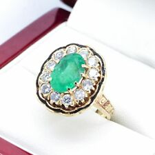 Vintage Emerald and Diamond cluster Cocktail ring with Enamel detail and 12 Diam