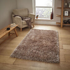 "Small Large Monte Carlo Beige Sparkle Modern Soft 6cm Thin Thick Shaggy Rugs 100x150cm (3'3""x5')"