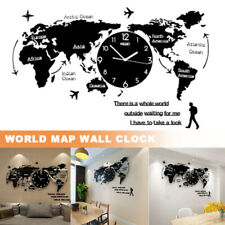 World Map Wall Clock Nordic Modern Minimalist Decor Acrylic for Home Office AU