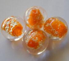 "25pcs 12mm Round ""Glow-in-the-Dark"" Glass Beads - Opaque Orange"