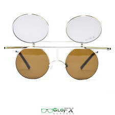 GloFX Flip Diffraction Glasses – Vintage Round Metal Crossbar Frame 3D Shades