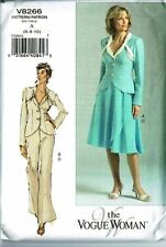 The Vogue Woman V8266 Jacket Wrap Skirt and Pants Suit Size 6-8-10 Uncut Pattern