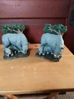 """Vintage """"Set Of 2 Rhinoceros W/Baby In Scenic Forest Bookends"""""""