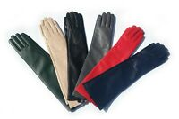 KIMOBAA women cute elegant real sheep leather plain elbow long gloves