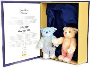 "STEIFF HELLO GOOD-BYE BEAR SET 1999/2000 670367 7.87"" (20cm) RARE NRFB NEW"