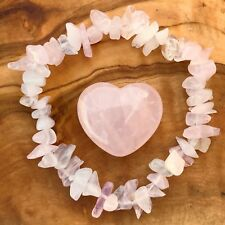 Rose Quartz Gem Chip Bracelet and Heart Gift Set Love Healing Heart Chakra Reiki
