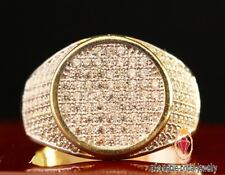 3.00CARAT MENS 10K YELLOW GOLD FINISH PAVE DIAMOND ENGAGEMENT WEDDING PINKY RING