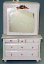 ROSE BEDROOM DRESSER AND MIRROR #1523 A BEAUTY DOLLHOUSE FURNITURE MINIATURES