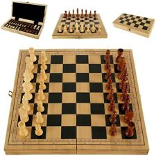 39 X 39 Vintage Wooden Chess Set Wood Board Hand Carved Crafted Folding Game US