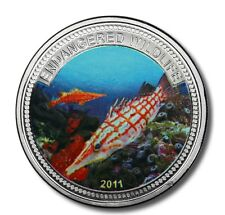 2011 Palau Large Color Proof $1 Tropical Pipe Fish/Mermaid/Neptune