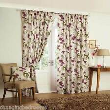 FLORAL TAPE TOP KERENA AUBERGINE  HEAVY QUALITY READY MADE CURTAIN 66x108 INCHES