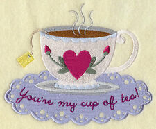 Your My Cup Of Tea Set Of 2 Bath Hand Towels Embroidered By Laura